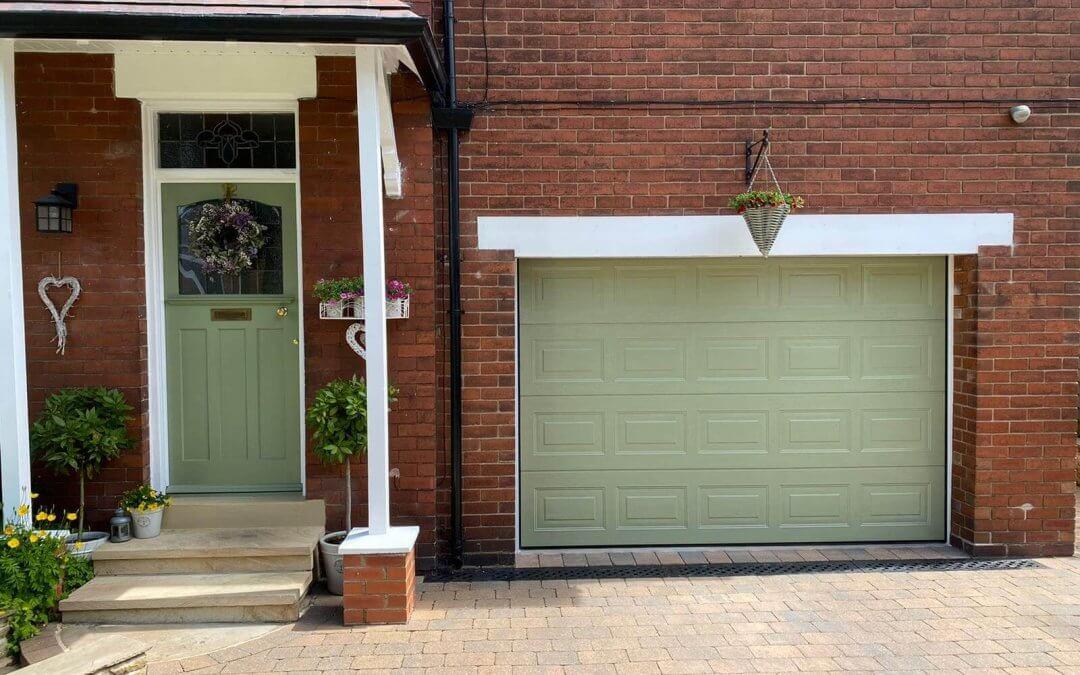 White Garage Door to Sample Green