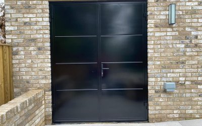 Large Double Doors sprayed on site from RAL 9004 (Matt Black) to RAL 9005
