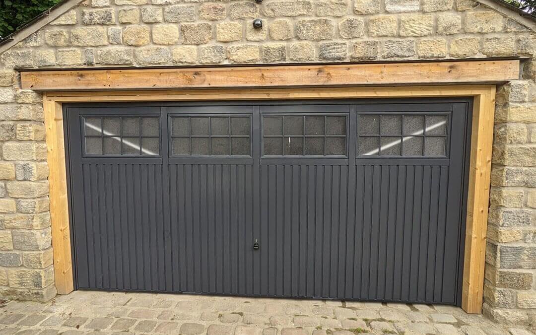 White Garage Door sprayed to RAL 7024