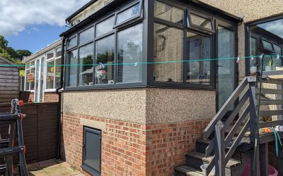 White uPVC Window & Doors Sprayed to an Anthracite Grey