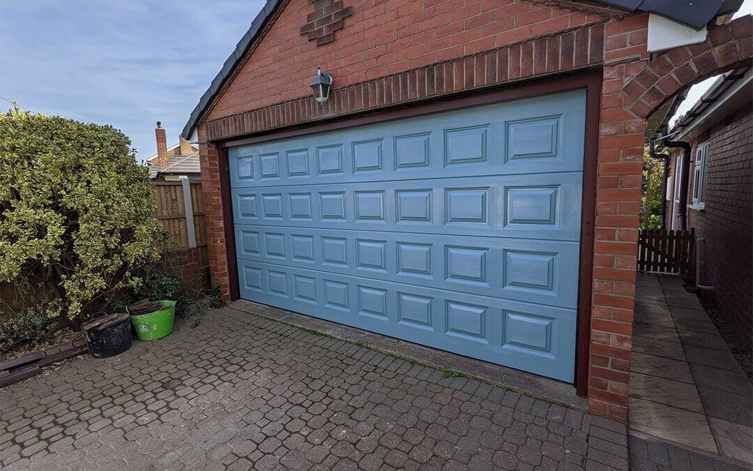 Brown Double Garage Doors sprayed to Wedgewood