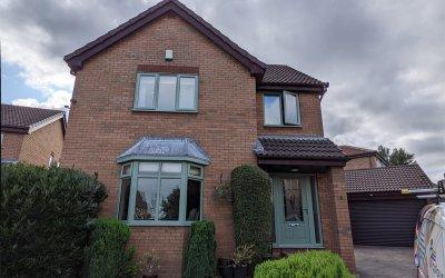 Mahogany Windows & Doors Sprayed to a Chartwell Green Finish