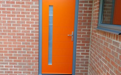 Spitfire Aluminium Entrance door sprayed in factory to RAL 2009